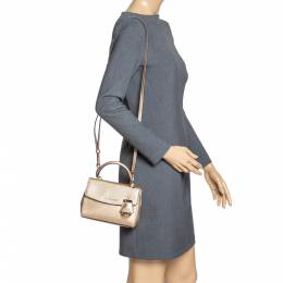 Michael Kors Metallic Gold Leather Mini Ava Top Handle Bag 316420