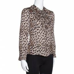 Ch Carolina Herrera Brown Leopard Print Silk Ruffled Blouse S 317116