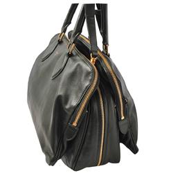 Celine Dark Green Leather Mini Boston Bag 317527