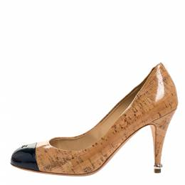 Chanel Beige Coated Cork And Dark Blue Patent CC Cap Toe Pump Size 39 318373