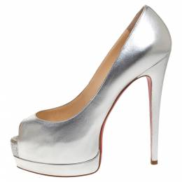 Christian Louboutin Silver Leather Palais Royal Peep Toe Platform Pumps Size 38 316323