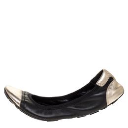 Prada Sport Black/Silver Leather Scrunch Ballet Flats Size 38.5 316322