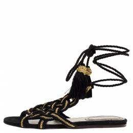 Roberto Cavalli Black/Gold Woven Twisted Thread Gladiator Ankle Wrap Flat Sandals Size 38.5 316345
