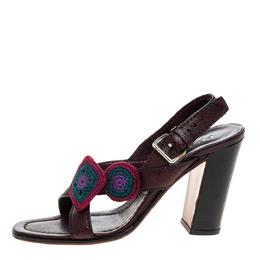 Prada Brown Leather Embellished Cross Strap Slingback Sandals Size 38 318811