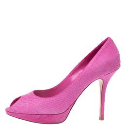 Dior Pink Python Embossed Leather Platform Peep Toe Pumps Size 39.5 318147