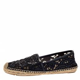 Tory Burch Black Cotton Lace and Leather Jackie Espadrilles Size 38 318638