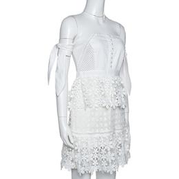 Self-Portrait White Lace Tiered Off Shoulder Mini Dress M 316882
