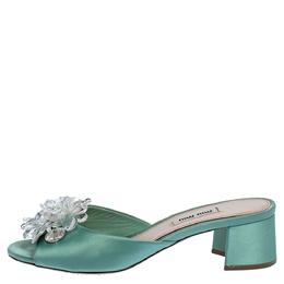 Miu Miu Pista Green Satin Crystal Embellished Slide Mules Size 37 316866
