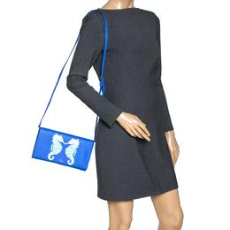 Kate Spade Blue Leather Seahorse Applique Flap Crossbody Bag 316868