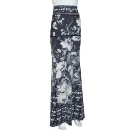 Roberto Cavalli Monochrome Floral Print Jersey Chain Detail Maxi Skirt L 317755