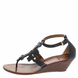 Tory Burch Navy Blue Leather Phoebe Thong Ankle Strap Wedge Sandals Size 39.5 317286