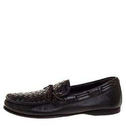 Bottega Veneta Brown Intrecciato Leather Bow Slip On Loafers Size 41.5 317622