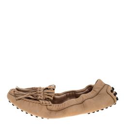 Tod's Beige Suede Fringe Detail Scrunch Loafers Size 37 318558