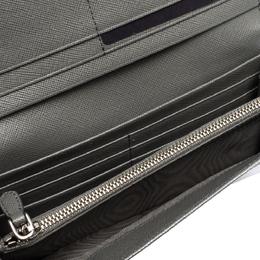 Prada Grey Saffiano Lux Leather Flap Continental Wallet 315474