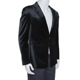 Emporio Armani Black Diamond Pattern Velvet Jude Line Jacket L 315477