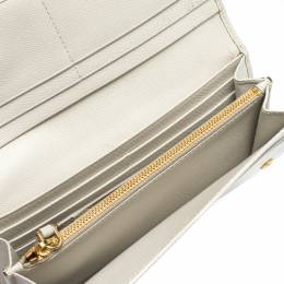 Prada Cream Saffiano Lux Leather Continental Flap Wallet 315381