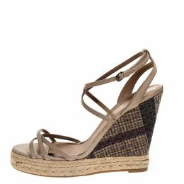 Burberry Pale Green Strappy Leather Woven Wedge Espadrille Sandals Size 39 315496