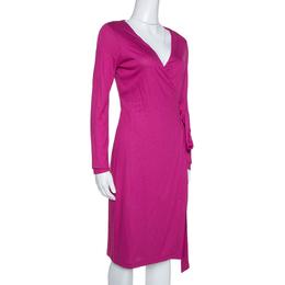 Diane Von Furstenberg Fuchsia Pink Jersey New Julian LS Wrap Dress S 315721