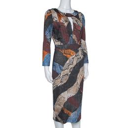 Just Cavalli Multicolor Animal Print Jersey Sheath Dress M 315729