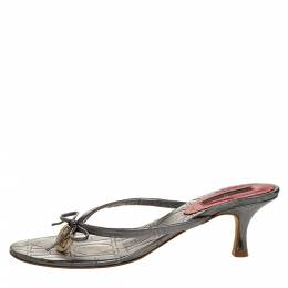 Carolina Herrera Metallic Grey Leather Logo Bow Thong Sandals Size 39 313837