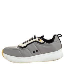 Prada Sport Grey Nylon And Rubber Lace Up Sneakers Size 38 315125