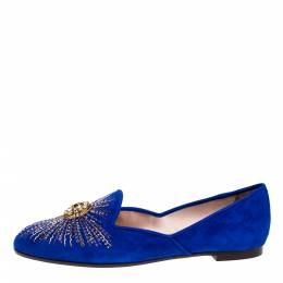 Aquazzura Royal Blue Suede Sunlight Embellished Loafers Size 38 315260