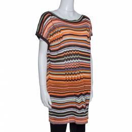 M Missoni Orange & Brown Striped Pointelle Knit Tunic Top M 314028