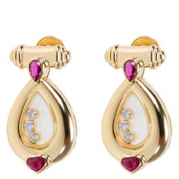 Chopard Vintage Happy Diamond 18K Yellow Gold Diamond Rubies Drop Earrings 313959
