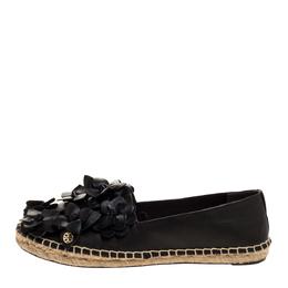 Tory Burch Black Leather Blossom Floral Applique Espadrilles Size 38 315135