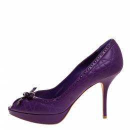 Dior Purple Cannage Leather Bow Platform Pumps Size 39 314354