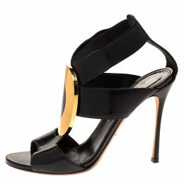 Sergio Rossi Black Patent Embellished Elastic Strappy Sandals Size 38 313341