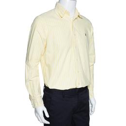 Ralph Lauren Light Yellow Striped Cotton Long Sleeve Shirt M 312761