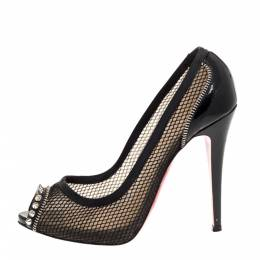 Christian Louboutin Black Mesh And Patent Leather Spiked Shawnita Peep Toe Pumps Size 40 312610