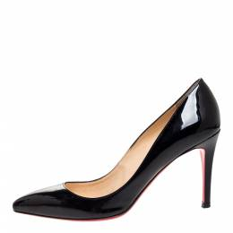 Christian Louboutin Black Patent Leather Pigalle Pointed Toe Pumps Size 40 312906