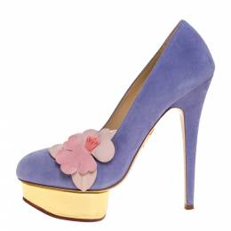 Charlotte Olympia Blue Suede Dolly Orchid Platform Pumps Size 39 312764