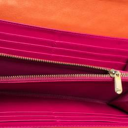 Dior Orange Cannage Leather Miss Dior Flap Continental Wallet 313970