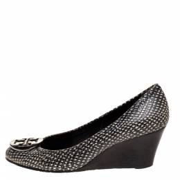 Tory Burch Black/White Snakeskin Effect Leather Benton Wedge Pumps Size 37 314379