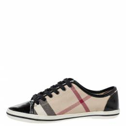 Burberry Beige/Black Nova Check Canvas and Patent Leather Lace Up Sneakers Size 37 315693