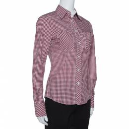 Ch Carolina Herrera Red Checked Cotton Long Sleeve Shirt S 315697