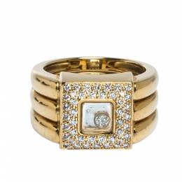 Chopard Happy Diamonds 18K Yellow Gold Wide Ring Size 52.5 313505