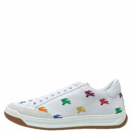 Burberry White Leather Timsbury Low Top Sneakers Size 40 313219