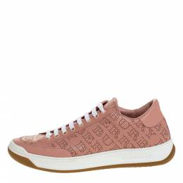 Burberry Pink Perforated Leather Timsbury Low Top Sneakers Size 39.5 313216
