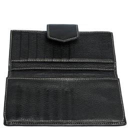 Carolina Herrera Black Monogram Embossed Patent Leather Flap Continental Wallet 312743