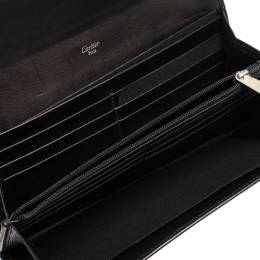 Cartier Black Patent Leather Flap Continental Wallet 312636