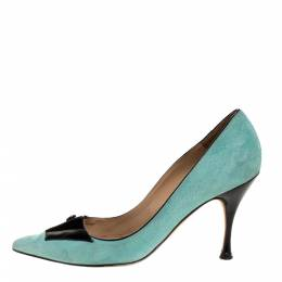 Manolo Blahnik Green Suede And Black Patent Button Embellished Pointed Toe Pumps Size 38 315160
