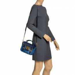 Miu Miu Blue Leather Madras Flap Crossbody Bag 315353
