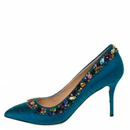 Charlotte Olympia Teal Silk Crystal Embellished Semiprecious Pumps Size 40 312819