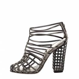 Yves Saint Laurent Metallic Grey Strappy Cage Sandals Size 36 315776