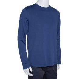 Loro Piana Navy Blue Silk & Cotton Long Sleeve T-Shirt L 315216