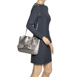 Carolina Herrera Metallic Monogram Leather Audrey Shoulder Bag 315782